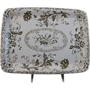 Aesthetic Brown Transferware Rectangular Platter Chelsea 1884