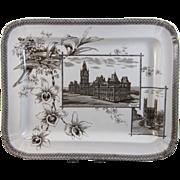 Large English Brown Transferware Platter - Canadian Scenes 1884