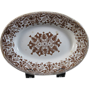 Aesthetic Brown Transferware Miniature Platter / Serving Tray 1885