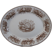 Victorian English Brown Transferware Platter - Shells & Seaweed 1877