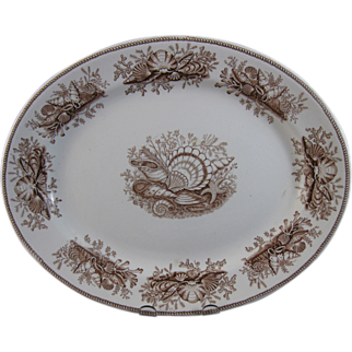 Victorian English Brown Transferware Platter - Shells & Seaweed 1877