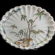 Aesthetic Brown Transferware Platter - Cranes & Palms - ca. 1879