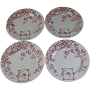 Set / 4  Aesthetic Red Transferware Plates Wren & Floral 1870-80