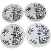 Set / 4  Aesthetic Transferware Plates - Kenilworth 1884