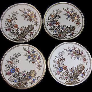 Set / 4  Aesthetic Transferware Polychrome Plates ~ Christopher Dresser 1880s
