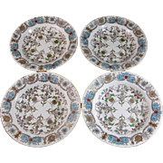 Set / 4  Aesthetic Transferware Polychrome Soup Plates - 1880