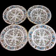 Set / 4  Aesthetic Transferware Polychrome Soup Plates - 1880