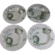 Set / 4 English Aesthetic Movement Soup Plates 1880