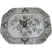 Large Aesthetic Brown Transferware Platter - Late 1870s-80s