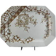 Large Aesthetic Brown Transferware Platter - 1885