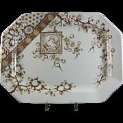Large Aesthetic Brown Transferware Platter - 1885