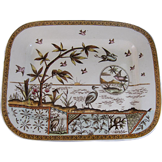 Large Aesthetic Movement Brown / Polychrome Transferware Platter ca. 1883