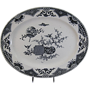 Large Aesthetic Black Transferware Platter - 1879