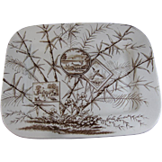 Enormous Aesthetic Rectangular Brown Transferware Platter - Bird & Deer 1883