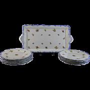 English Victorian 11 piece Transferware Ice Cream Serving Set - ca. 1890-1904
