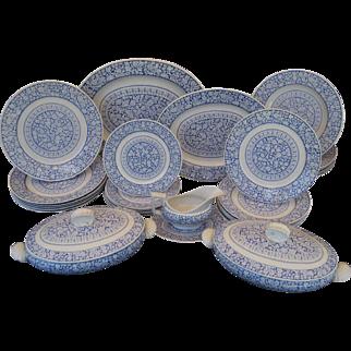 English Victorian Transferware Dinner Service for 6  - Saragossa Shells ca. 1883