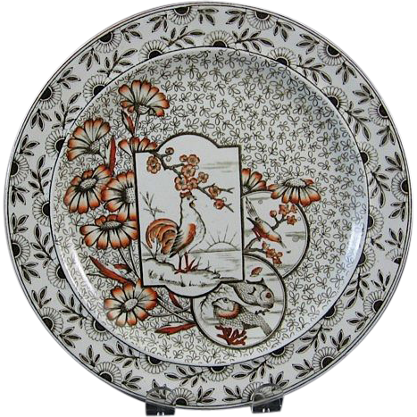 Aesthetic Brown Transferware Plate ~ Birds & Fish 1884