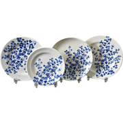 Four Victorian Blue Transferware Children's Plates - Ferns 1881