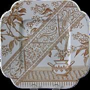 Aesthetic Brown Transferware Serving Plate - 1886