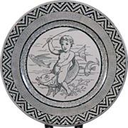 Wedgwood Aesthetic Transferware Plate - Ocean Whimsy - Child & Fish 1879