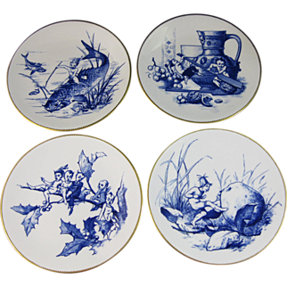 Set/4 English Aesthetic Movement Plates - Fairies and Pixies 1877