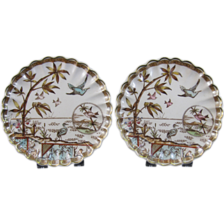 Pair Aesthetic Brown / Polychrome Transferware Plates 1883