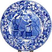 "Wedgwood Blue Transferware Plate - ""September"" - ca. 1903 - Red Tag Sale Item"