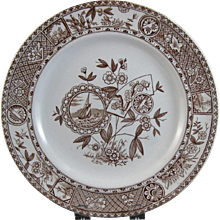 Aesthetic Brown Transferware Plate - Sitka 1880s