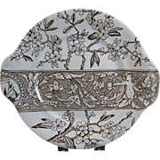 Aesthetic Brown Transferware Cake / Serving Plate 1880s - 2 available