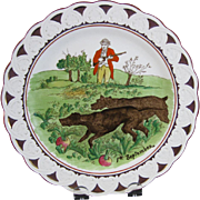 Victorian Brown / Polychrome Transferware Hunt Plate - Early 1900s