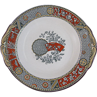 English Aesthetic Movement Transferware Cake Plate  - 1879