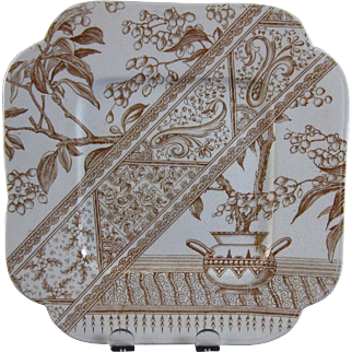 Staffordshire Aesthetic Brown Transferware Serving Plate - 1886