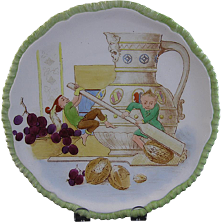 English Victorian Cabinet Plate - Pixies & Elves 1873 - 1902