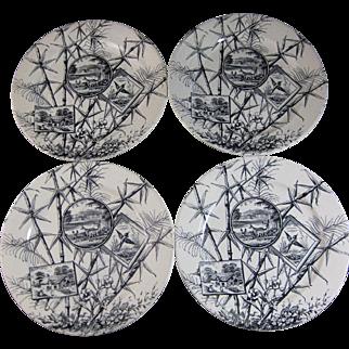 Set of 4 Large Aesthetic Transferware Plates - 1883