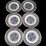 Set / 6 Victorian Aesthetic Transferware Plates 1882-1883