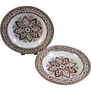 Pair of Large Staffordshire Aesthetic Movement Transferware Soup Plates - 1883