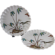 Pair of Staffordshire Aesthetic Movement Transferware Polychrome Plates - 1887
