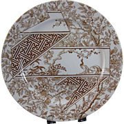 Aesthetic Brown Transferware Plate - Doulton 1880
