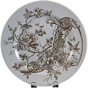 Aesthetic Brown Transferware Plate - Birds 1884