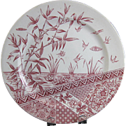 English Aesthetic Movement Red Transferware Plate - 1883