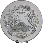 Large Aesthetic Transferware Plate - 1880