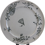 Large Aesthetic Green Transferware Plate - 1880