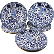 Set of 8 English Victorian Large Blue Transferware Plate - 1880