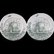 Pair English Victorian Staffordshire Plates - Rustic 1886