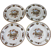 Set of 4 Aesthetic Japonism Brown Transferware / Polychrome Wedgwood Plates