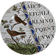 Victorian Staffordshire Child's ABC Plate - Birds c. 1884