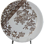 English Aesthetic Brown Transferware Plate - ca. 1885