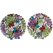 Pair of Victorian Brown / Polychrome Transferware Plates c. 1878
