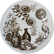 Unusual Aesthetic Brown Transferware Plate 1880s