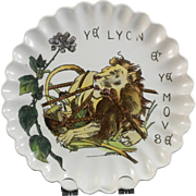 Victorian Brown / Polychrome Transferware Plate - Aesop's Fables The Lion & The Mouse - 1882